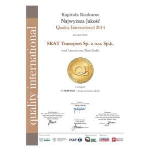 SKAT Transport laureatem Quality International 2014